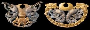 Narigueras de la dama de Cao con representación de crustáceos. Procede de excavaciones en Loma Negra, valle de Piura. Cultura Moche (200 a.C- 700 d.C). Fuente: Gabriel Bernat.