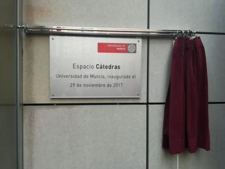"""Placa del """"Espacio Cátedras"""""""
